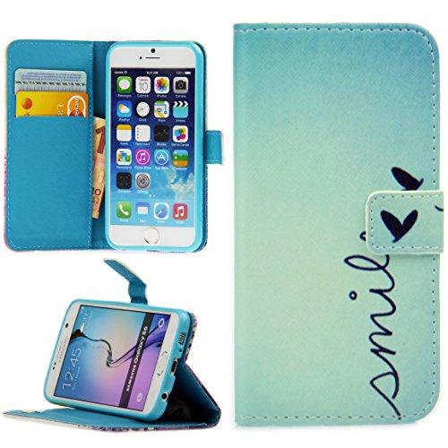 Handy Lux® Schutz Hülle Tasche Kartenfächer Flip Case Etui Cover Involto Motiv Design Hülle BookStyle für Samsung Galaxy A5 (Modell 2016), Smile