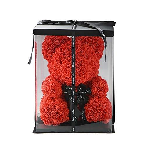 2018 Gros Pas Cher 40cm Ours Rouge Rose Ours En Peluche Rose Fleur Décoration Artificielle Cadeaux De Noël for Femmes Valentines Cadeau (Color : 40cm gift box)