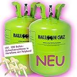 2 x Helium Ballongas Flasche Ballon für 100 Luftballons +100 Verschlüsse Herz