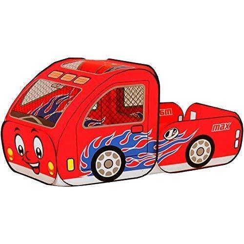 Dominiti Spielzelt Truck in rot / POP-UP mit Boden Zelt für Kinder, Kinderzelt