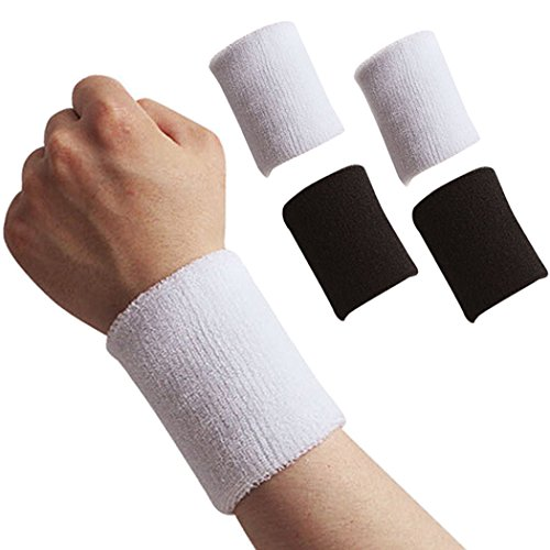 Fansport Sport Wristband, 4Pcs Wrist Sweatband Athletic Wristband for Basketball Football Running