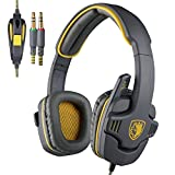 Sades SA-708 Sonido Envolvente Estéreo Auriculares Gaming Cerrados 3,5MM Jack Doble Con Micrófonos Cómodas Almohadillas De Cuero Para PC (Gris & Amarillo)
