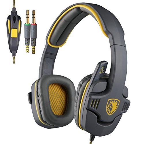 Sades-SA-708-Sonido-Envolvente-Estreo-Auriculares-Gaming-Cerrados-35MM-Jack-Doble-Con-Micrfonos-Cmodas-Almohadillas-De-Cuero-Para-PC-Gris-Amarillo