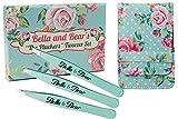 Bella and Bear Kosmetik und Augenbrauen Pinzette 3er Set mit modischem Etui | Edelstahl Pinzette mit einer spitzer, einer gerade und einer abgeschrägten Präzisionsspitze