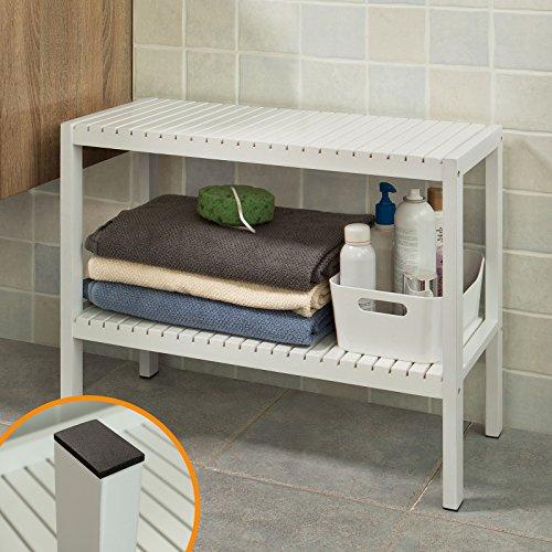 SoBuy® FSR14-W Badezimmerregal, Badezimmerschrank, Badregal,Handtuchhalter,weiß
