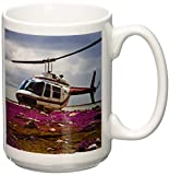 3dRose A Helicopter Lands in a Field of Fireweed Off Hudson Bay Coast Ceramic Mug, 15-Ounce