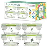Glass Baby Food Storage Jars | Stronger Than Regular Glass | Set of 4 Bowls with Snap Lids | 7oz | BPA, Lead, Phthalate & PVC Free | Leak Proof, Airtight | Freezer, Microwave, Oven & Dishwasher Safe