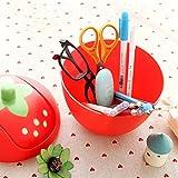 Gaddrt Mülleimer Erdbeer Mini Creative Covered Desktops Aufbewahrungskiste Küche Wohnzimmer Büro Plastik Tisch Schreibtisch Mülltonne Abfalleimer mit einem Schwingdeckel (Rosa) - 6