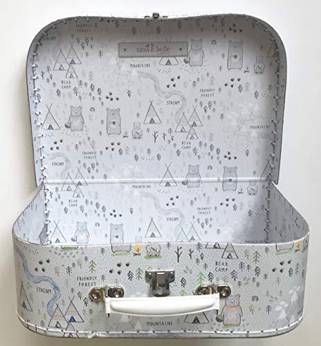 Sass and Belle Koffer/Kinderkoffer/Puppenkoffer/Aufbewahrungsbox. Pappkoffer, 3 Verschiedene Größen. (Bear Camp, L)