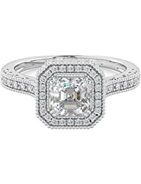 Ladies Ring-Genuine 925 sterling silver Asscher Cut Halo Wedding Engagement Ring