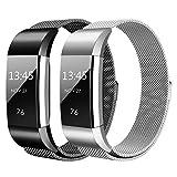 Hanlesi Fitbit Charge 2 Armband, Edelstahl Armbanduhren Watch Band Fitness für Fitbit Charge 2 (Klein, silber + schwarz)