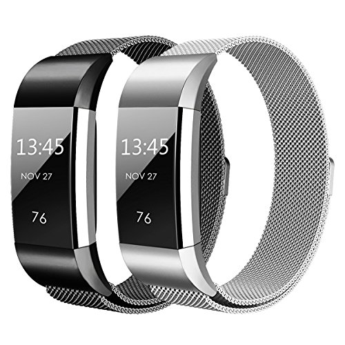 Hanlesi Fitbit Charge 2 Armband, Edelstahl Armbanduhren Watch Band Fitness für Fitbit Charge 2 (Groß, silber + schwarz)