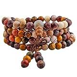 Shanxing 108 Perlen Edelstein Yoga Armband Schmuck Buddha Buddhistische Tibetische Gebetskette Mala Kette Halskette,Mookait