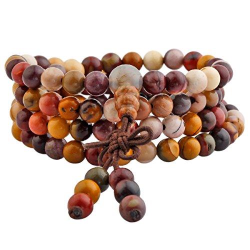 Shanxing 108 Perlen Edelstein Yoga Armband Schmuck Buddha Buddhistische Tibetische Gebetskette Mala Kette Halskette,Mookait - Entspannen Medizin