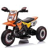 BAKAJI Moto Motocicletta Elettrica Bambini Batteria 6V Ricaricabile Triciclo 3 Ruote Fari Funzionanti con Luci e Suoni Realistici Dimensione 71 x 45 x 51 cm (Arancione)