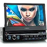 """XOMAX XM-DTSBN929 Autoradio / Moniceiver / Naviceiver avec navigation GPS + GPS auto intégré avec cartographie Europe (48 pays) + Fonction sans fil Bluetooth + Écran tactile de 7"""" / 18cm, 16:9 HD (800 x 480 px) + Lecteur DVD et CD+ 2x Port USB (256 GB) + Fente pour cartes Micro SD (128 GB) + MPEG4, MP3, WMA, JPEG etc. + 2x Connexions pour subwoofer, caméra recul et commandes au volant + Dimensions standard simple DIN (1DIN) + Télécommande, tiroir métallique, cadre inclus"""