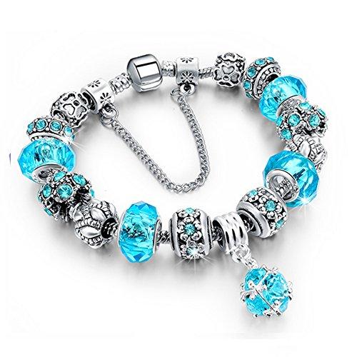 Bracciale donna e ragazza Bead Chain con bead placcato argento con zirconi - componibile, misura regolabile, compatibile pandora - massima brillantezza, alta qualità (Azzurro)
