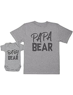 Baby Bear & Papa Bear - Passende Vater Baby Geschenkset - Herren T-Shirt & Baby Strampler/Baby Body