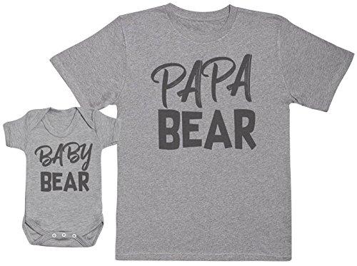 Baby Bear & Papa Bear - Passende Vater Baby Geschenkset - Herren T-Shirt & Baby Strampler / Baby Body - Grau - Large & 3-6 Monate