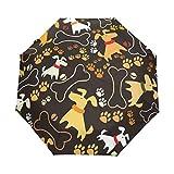 Wamika Regenschirm, niedlicher Hundepu-Aufdruck, automatischer Regenschirm, winddicht, wasserdicht, UV-Schutz, lustige Tiere, Ball, Hundehalsband, kompakt, Reise-Regenschirm, 3-fach faltbar, automatisches Öffnen/Schließen, für Sonne und Regen