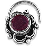 AccessHer 92.5-925 sterling Silver Trendy Ruby stone oxidised nose pin for womens and Girls