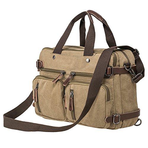 riavika Übergroße Laptop Rucksack Aktentasche Convertible Messenger Bag Travel Rucksack Daypack Rucksack für 39,6-43,2cm Laptop/Notebook/Macbook khaki khaki (Convertible Messenger)