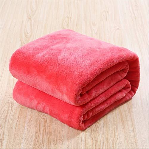 Bettwäsche Fleece Decke einfarbig leichte weiche warme Bettdecke Throw Plüsch Decke Mikrofaser für Bett oder Couch 40 X 55 Zoll Wassermelone -