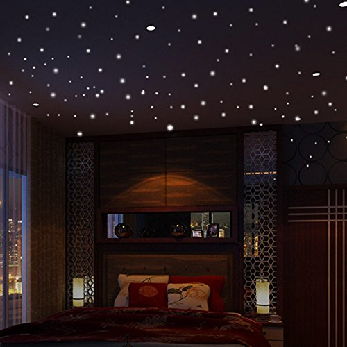 Zolimx Wandtattoo Wandsticker Im Dunkeln leuchten Sterne Wandaufkleber 103Pcs Star Moon Luminous Kids Room Decor Wohnzimmer Schlafzimmer Dekoration (Wars-schlafzimmer Star Dekorationen)