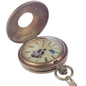 armel Pure Brass Antique Retro Steampunk Full Copper Bronze Pocket Watch Mechanical