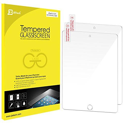 JETech 2-Pack iPad 2/3/4 Gehärtetem Glas Schutzfolie Panzerglas Premium Folien Schutzfolie Displayschutz Screen Protector für Apple iPad 2/3/4-0337A (2 Glas Folie)