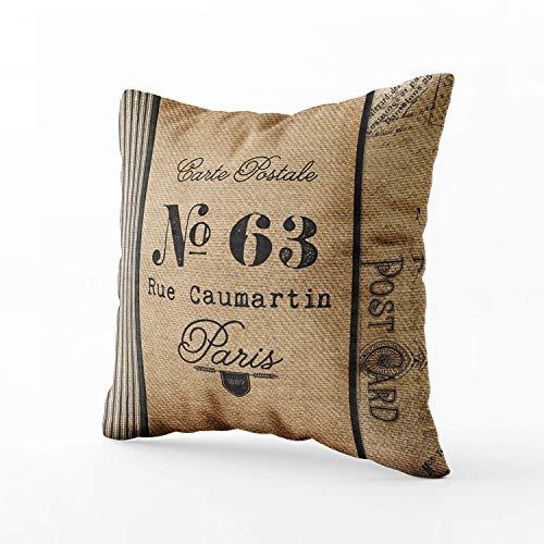 Arpillera vintage franqueo francés país cita cojines caso funda de almohada para sofá hogar decorativo...