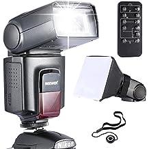Neewer® TT560 flash Speedlite * Deluxe Kit * para Canon Nikon Panasonic Olympus Fujifilm Pentax Sigma Minolta Leica y Otros SLR Digital SLR Digital SLR Cámaras y cámaras digitales con único-contacto zapata caliente, incluye: (1) Neewer TT560 + (1) 5 en 1 Mando a distancia para Canon Nikon Sony Pentax + (1) Universal plegable Difusor de flash + (1) Holder para tapa del