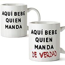 PACK 2 TAZAS - Tazas de café regalo para parejas de enamorados compañeros de piso o de trabajo - regalo original de novios y novias perfecto para San Valentín y también para amigos - Aquí bebe quien manda (de verdad) - 350 ml - cerámica - desayuno