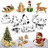 Set di formine per mini biscotti in 3D - Tagliabiscotti per biscotti in acciaio inox a 8 pezzi - Albero di natale, pupazzo di neve, tagliapasta e tagliapasta per bambini, festa, vacanza