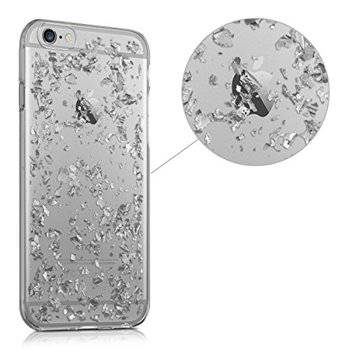 kwmobile Hülle für Apple iPhone 6 / 6S - TPU Silikon Backcover Case Handy Schutzhülle - Cover Marmor Design Schwarz Weiß Flocken Silber Transparent