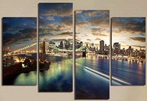 City Views pitture a olio su tela a getto d'inchiostro su telaio di legno pronta per essere appesa in salotto e camera da letto decorazioni domestiche della parete di arte Set di 4 Pannello , 30*80cm