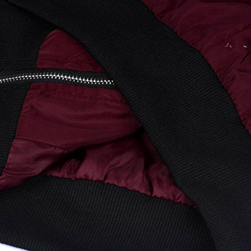 Veste Femme,LMMVP Nouvelle Mode Femmes Svelte Biker Moto Doux Zipper Manteau Court Veste Vin rouge