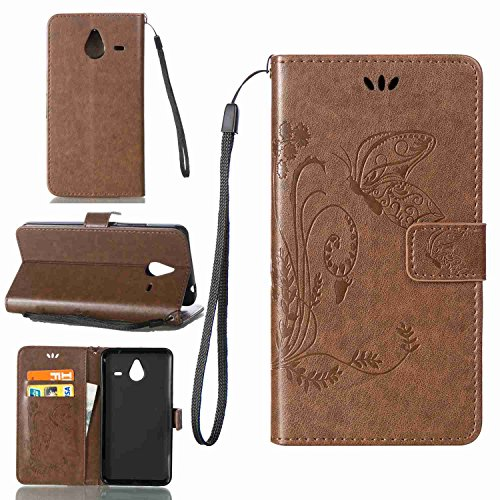 pinlu Schutzhülle Für Microsoft Lumia 640 XL Dual-SIM Handyhülle Hohe Qualität PU Ledertasche Brieftasche Mit Stand Function Innenschlitzen Design Schmetterling Gras Muster Braun