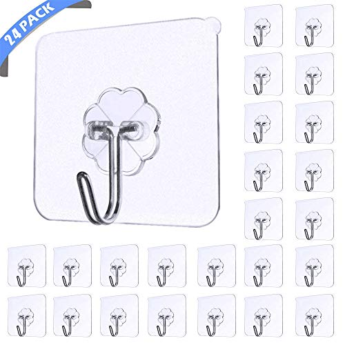 Haken Selbstklebend Handtuchhaken 24 Stück Max 8kg, Karrong Transparent Ohne Bohren Klebehaken Haken für Badezimmer Küche Bad