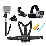 Fahion-Eshop 4 in1 Ultimate GoPro Accessories Pack Head & Chest Strap & Monopod & Yellow Hand Grip Floating Mount For HD & Hero 1/2/3/4