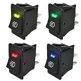 E Support™ KFZ Auto Boot Kippschalter Druckschalter Schalter 12V Blau Rot Grün Gelb LED Licht Nebelscheinwerfer