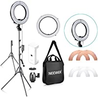 Neewer 14-inch Outer 10-inch Inner Dimmable LED Ring Light Lighting Kit with 59 inches Light Stand, Phone Holder, Diffuser, White Orange Filters for Photo Studio YouTube Video Shooting (UK Plug)