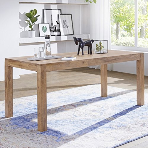 FineBuy Esstisch Massivholz Akazie 180 X 80 X 76 Cm Esszimmer Tisch Design  Küchentisch Modern Landhaus Stil Holztisch Rechteckig Dunkel Braun  Natur Produkt ...