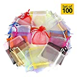 Organzasäckchen klein und groß (100 Stück, 10 Farben), Organzabeutel 4 Größen Perfekt für die Verpackung von Geschenken Schmuckbeutel ( 7 x 9 cm)