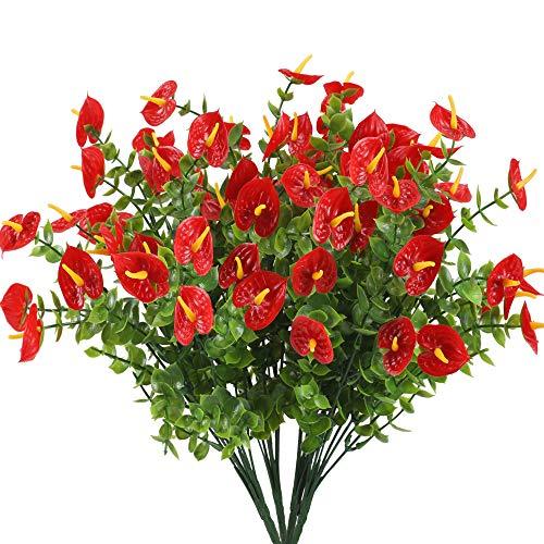 Nahuaa 4 Pcs Künstliche Blumen Frühling Deko Kunstblumen Kunstpflanzen Anthurium Plastik Pflanze Künstliche Balkonpflanzen Plastikblumen für Drinnen Draußen Balkon Garten Küche Topf Dekoration Rot