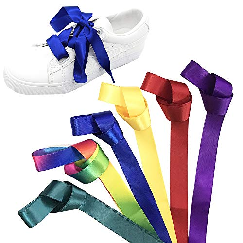 Jurxy 6 Paar Satin Flache Schnürsenkel Seidenband Flacher Shoestring 1.2M für Sportschuhe, Laufschuhe, Bergschuh, Outdoorschuh Lila/Gelb/Rot/Dunkelgrün/Saphir/Regenbogen -