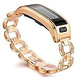 Ersatzarmband für Garmin Vivosmart HR, Metallgehäuse mit einstellbarem Uhrenarmband, Zubehör, GM-03-Rose Gold