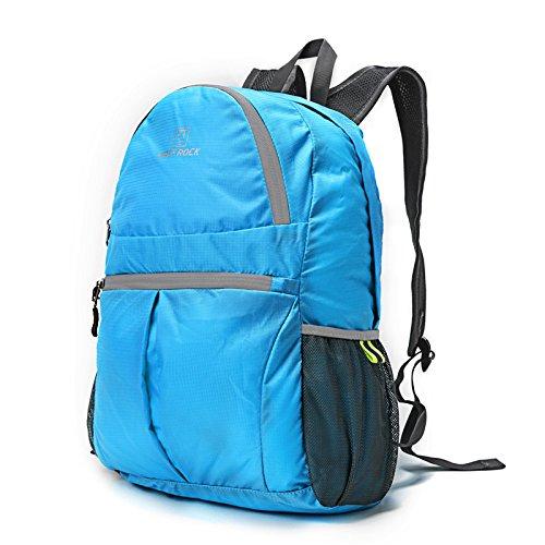 TBB-Doppio zaino borse tracolla pieghevole e impermeabile esterno portatile pacchetto di viaggio,grigio 25L light blue 25L