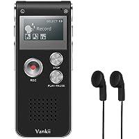 Vankii Digitales Diktiergerät, 8GB USB Audiorekorder mit MP3 Player, Kleiner und tragbarer Soundrekorder mit HD-Aufzeichnung, Doppel-Mikrofon wiederaufladbares Diktiergerät für Vorträge - Schwarz