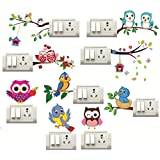 Sticker Studio Birds,OWL Switch Board Sticker (Set of 9)